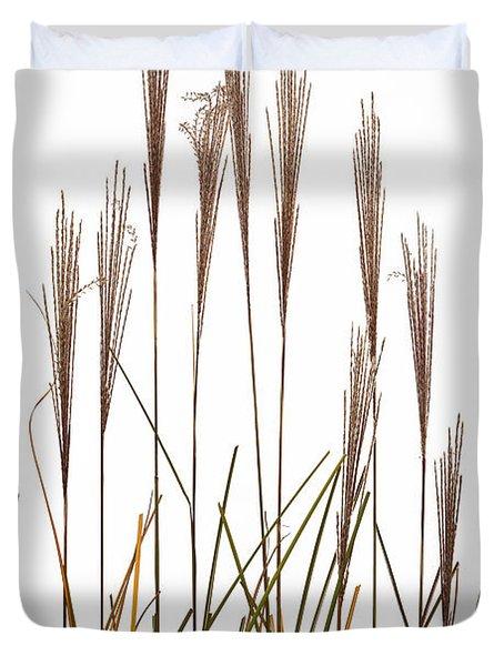Fountain Grass In White Duvet Cover by Steve Gadomski