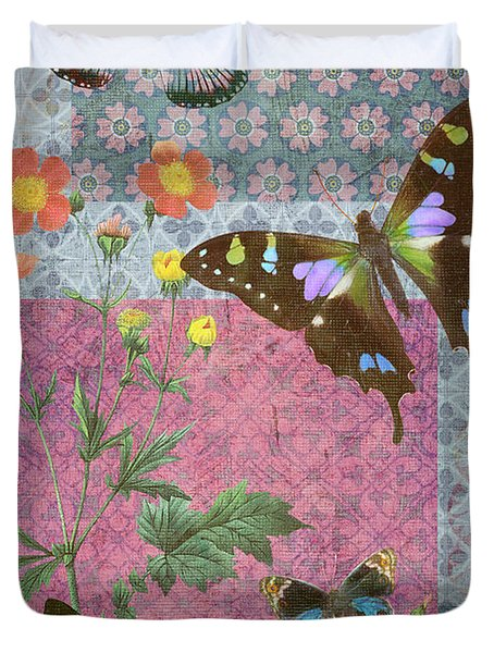 Four Butterfly Patch Blue Duvet Cover by JQ Licensing