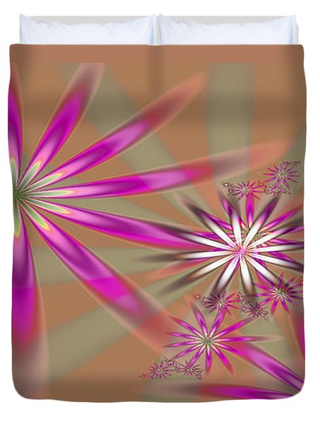 Fractal Flowers Duvet Cover by Gina Lee Manley