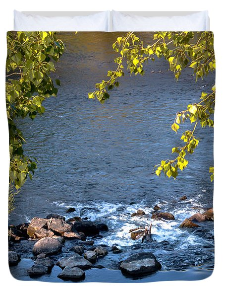 Framed Rapids Duvet Cover by Robert Bales