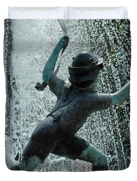 Frankenmuth Fountain Boy Duvet Cover by LeeAnn McLaneGoetz McLaneGoetzStudioLLCcom