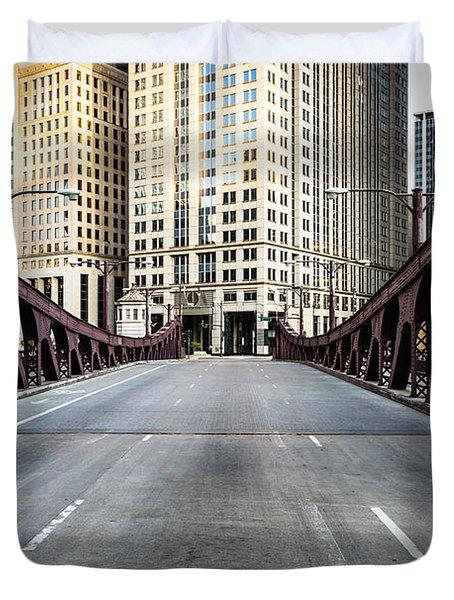 Franklin Orleans Street Bridge Chicago Loop Duvet Cover by Paul Velgos