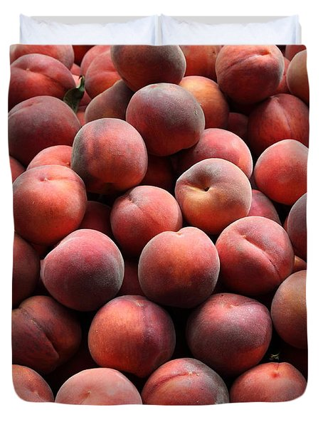 Fresh Peaches - 5d17816 Duvet Cover by Wingsdomain Art and Photography