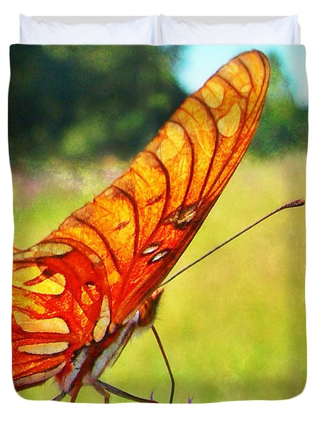 Fritillary On Ironweed Duvet Cover by Judi Bagwell