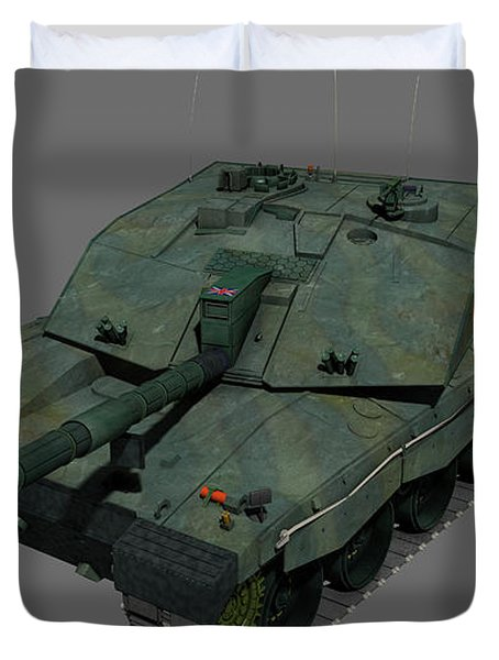 Front View Of A British Challenger II Duvet Cover by Rhys Taylor