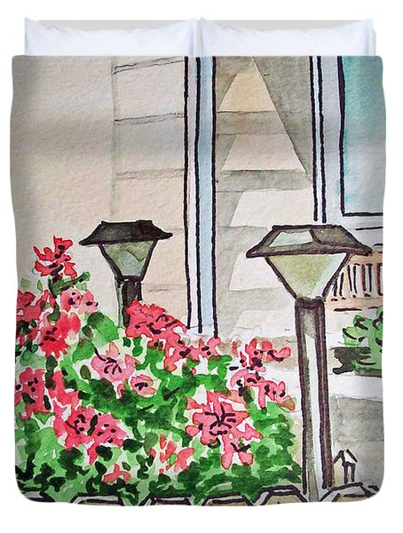 Front Yard Lights Sketchbook Project Down My Street Duvet Cover by Irina Sztukowski