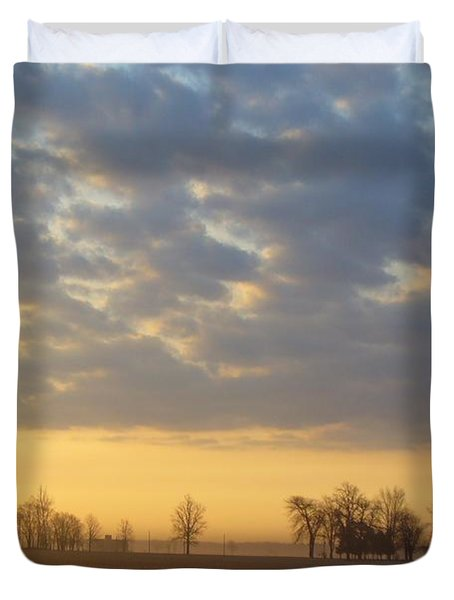 Frosty Spring Sunrise Duvet Cover by Peggy King