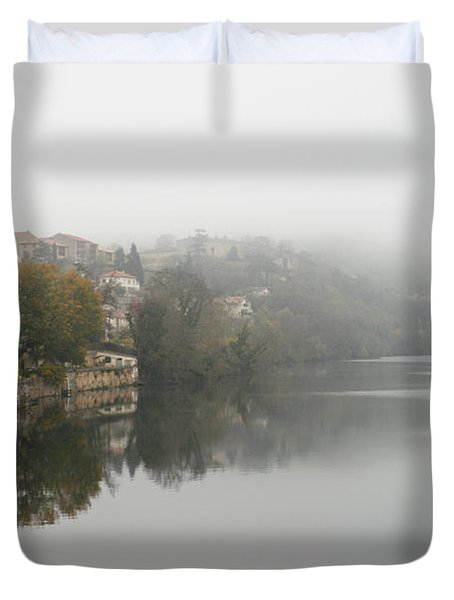 Fumel on a misty day Duvet Cover by Nomad Art And  Design