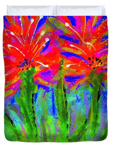 Funky Flower Towers Duvet Cover by Angela L Walker