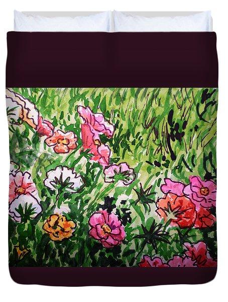 Garden Flowers Sketchbook Project Down My Street Duvet Cover by Irina Sztukowski