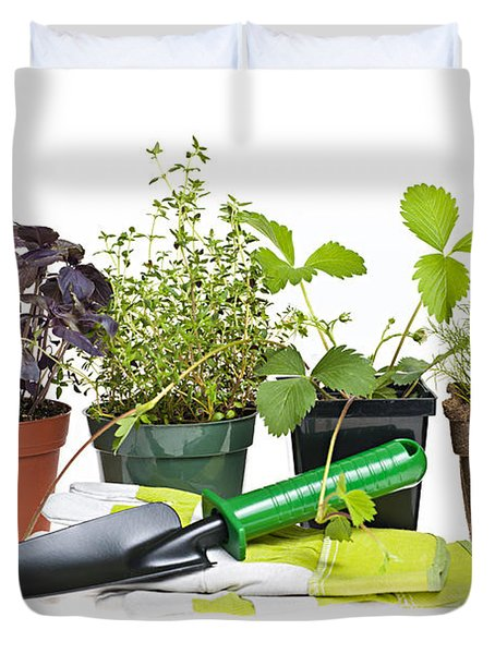 Gardening Tools And Plants Duvet Cover by Elena Elisseeva