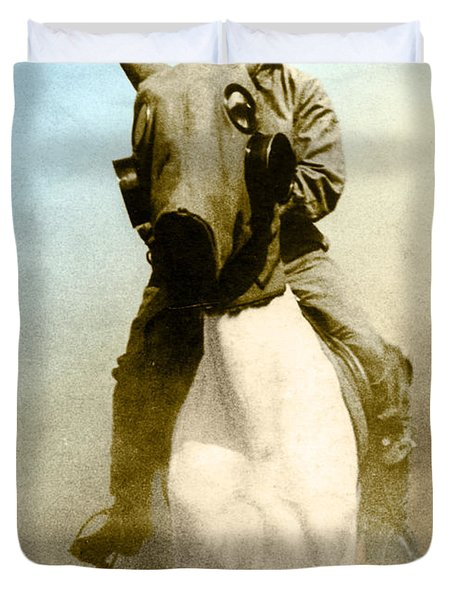 Gas Mask Duvet Cover by Photo Researchers