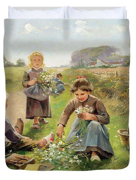 Gathering Flowers Duvet Cover by Joseph Julien