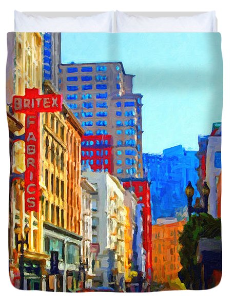 Geary Boulevard San Francisco Duvet Cover by Wingsdomain Art and Photography