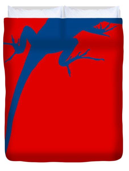Gecko Silhouette Red Blue Duvet Cover by Ramona Johnston