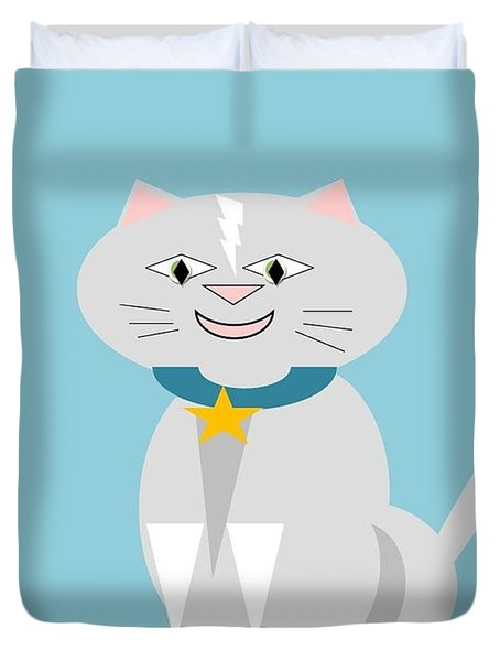 Geo Smiley Cat Duvet Cover by Maria Urso