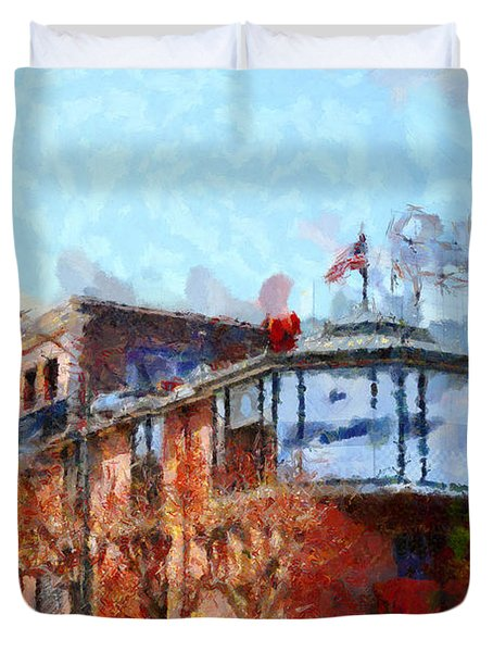 Ghirardelli Chocolate Factory San Francisco California . Painterly . 7D14093 Duvet Cover by Wingsdomain Art and Photography