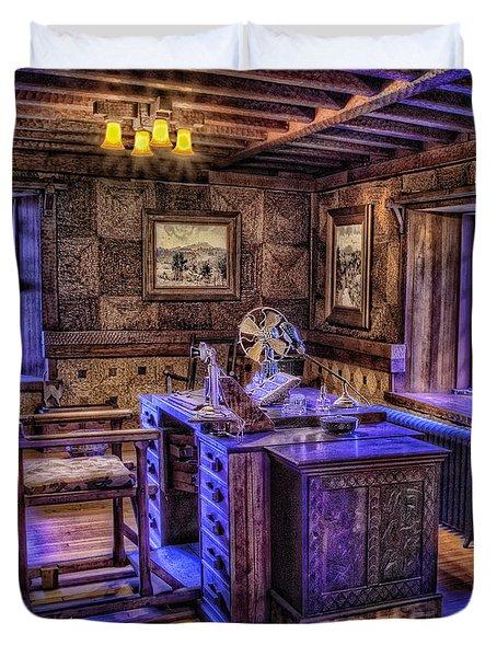 Gillette Castle Office Hdr Duvet Cover by Susan Candelario