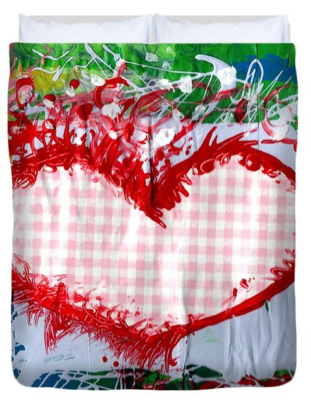Gingham Crazy Heart Duvet Cover by Genevieve Esson