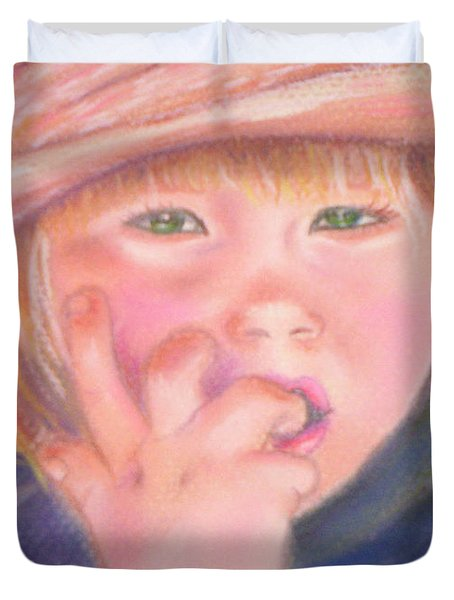 Girl In Straw Hat Duvet Cover by Julie Brugh Riffey