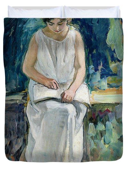 Girl Reading Duvet Cover by Henri Lebasque