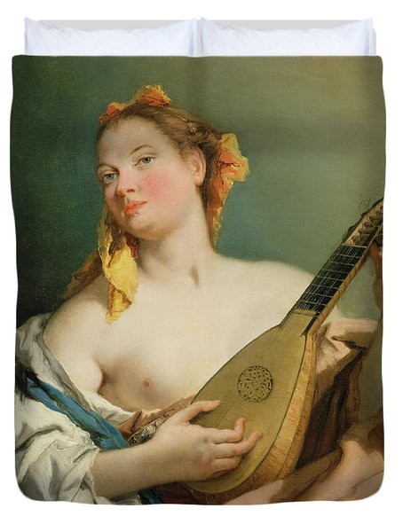 Girl With A Mandolin Duvet Cover by Giovanni Battista Tiepolo