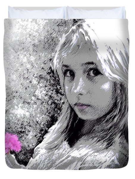 girl with pink flower Duvet Cover by Jane Schnetlage