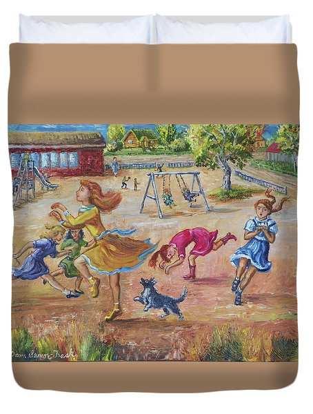 Girls Playing Horse Duvet Cover by Dawn Senior-Trask