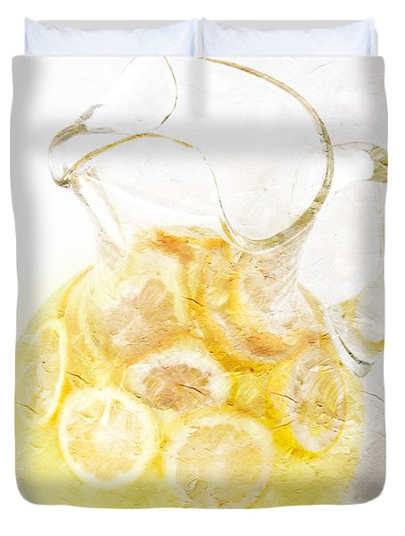 Glass Pitcher Of Lemonade Duvet Cover by Andee Design