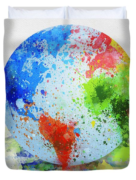 globe painting Duvet Cover by Setsiri Silapasuwanchai