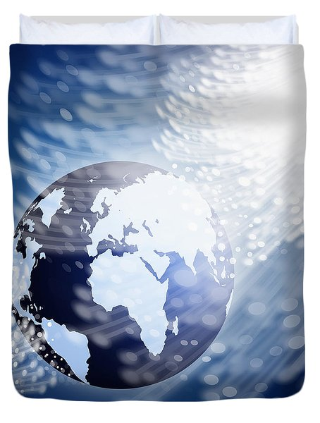 globe with fiber optics Duvet Cover by Setsiri Silapasuwanchai