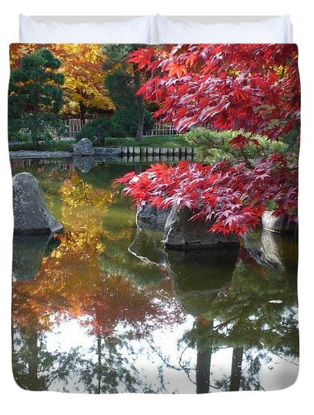 Glorious Fall Colors Reflection with Border Duvet Cover by Carol Groenen