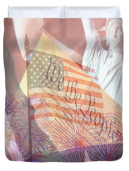 God Bless The Usa Duvet Cover by Cheryl Young