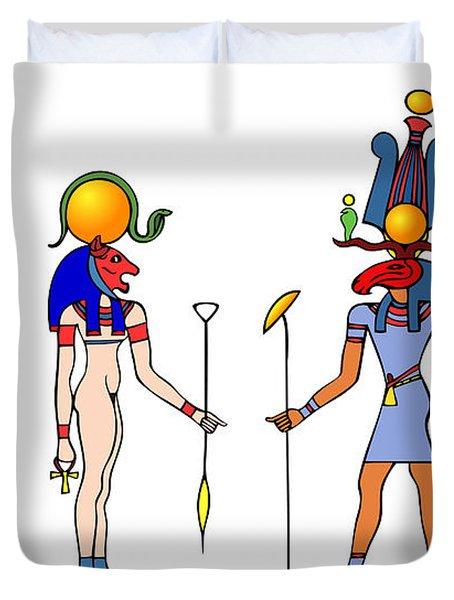 Gods And Goddess Of Ancient Egypt Duvet Cover by Michal Boubin