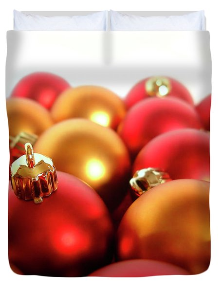 Gold and Red Xmas Balls Duvet Cover by Carlos Caetano