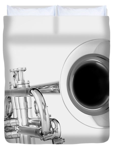 Gold Trumpet Isolated On White Duvet Cover by M K  Miller