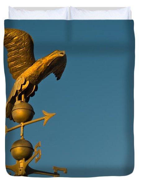 Golden Eagle Weather Vane Duvet Cover by Douglas Barnett