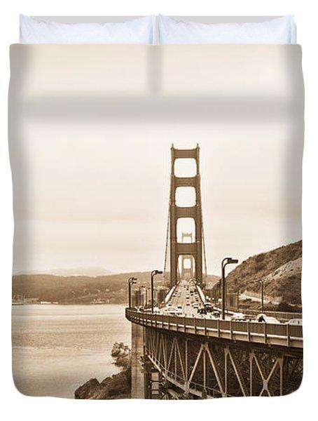 Golden Gate Bridge in Sepia Duvet Cover by Betty LaRue