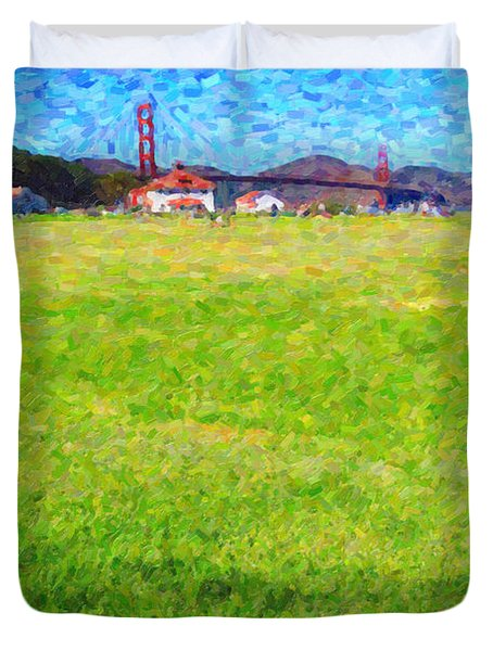 Golden Gate Bridge Viewed From Crissy Fields Duvet Cover by Wingsdomain Art and Photography