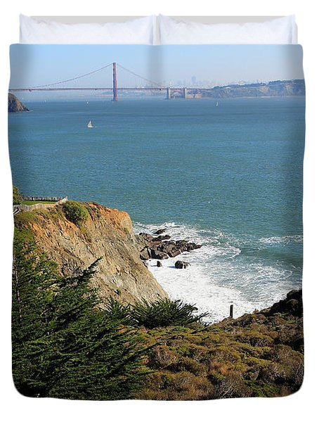 Golden Gate Bridge Viewed From The Marin Headlands Duvet Cover by Wingsdomain Art and Photography