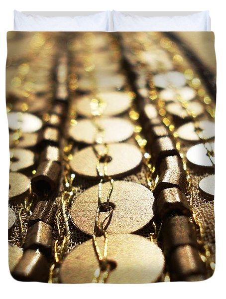 Golden Sequins Highway Duvet Cover by Sumit Mehndiratta