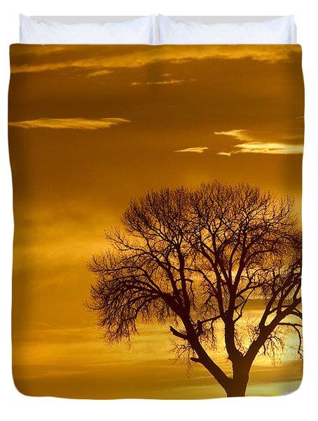 Golden Sunrise Silhouette Duvet Cover by James BO  Insogna