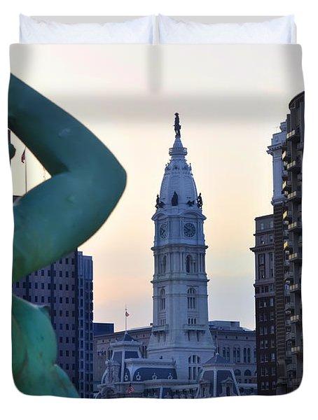 Good Morning Philadelphia Duvet Cover by Bill Cannon