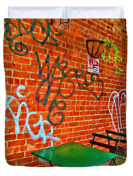 Grafitti Dining Duvet Cover by Joan  Minchak