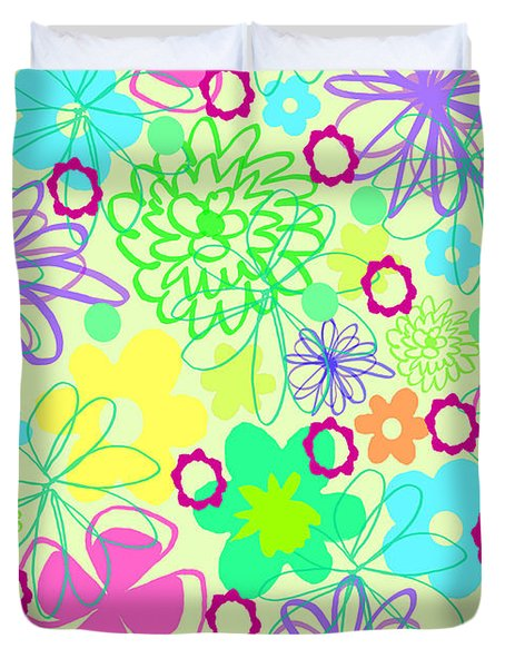 Graphic Flowers Duvet Cover by Louisa Knight