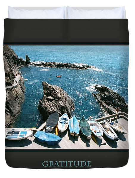 Gratitude Helps Me Rise Above All Fears Duvet Cover by Donna Corless