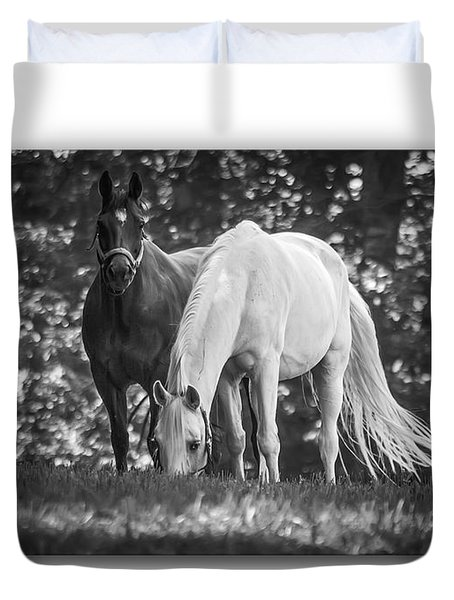 Grazing In Black And White Duvet Cover by Brian Wallace