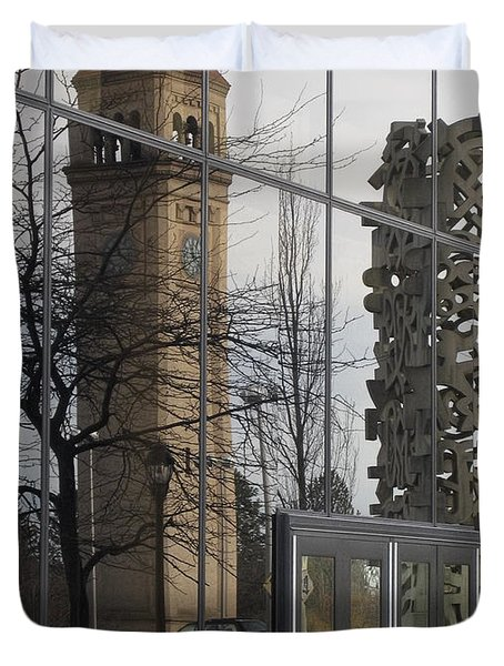 Great Northern Clocktower Reflection - Spokane Washington Duvet Cover by Daniel Hagerman