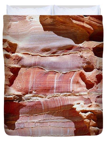 Great Wall of Petra Jordan Duvet Cover by Eva Kaufman