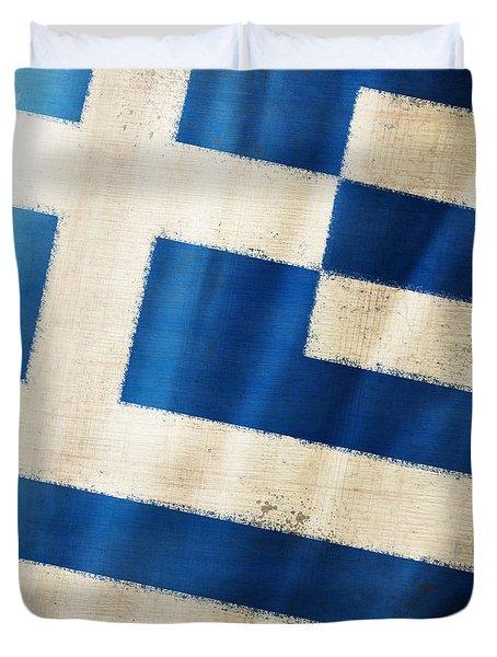 Greece flag Duvet Cover by Setsiri Silapasuwanchai